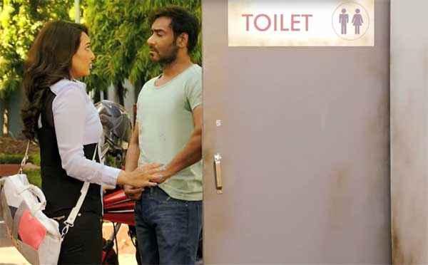 Action Jackson Sonakshi Sinha Ajay Devgn Toilet Scene Stills