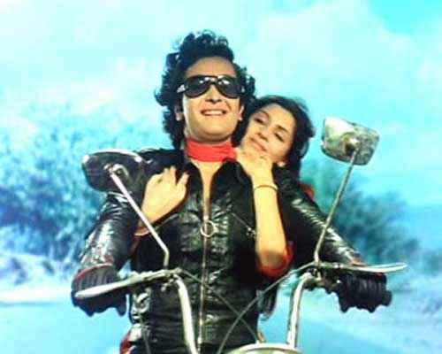 Bobby Rishi Kapoor Dimple Kapadia Romance On Bike Stills