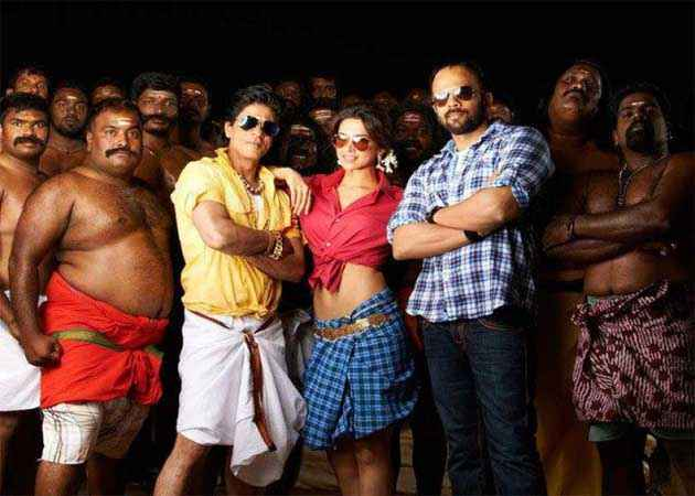 Chennai Express Shahrukh Deepika and Rohit Shetty Stills