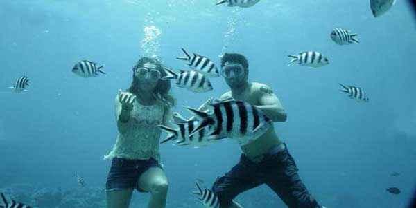 Ek Villain Sidharth Malhotra Shraddha Kapoor In Water With Fishes Stills