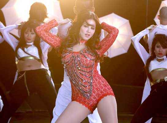 Hate Story 2 Sunny Leone Hot Red Dress In Pink Lips Song Stills