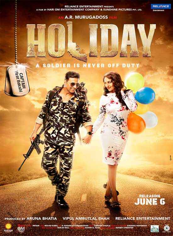 Holiday A Soldier Is Never Off Duty Sonakshi Sinha Akshay Kumar Romantic Poster