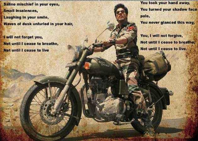 Jab Tak Hai Jaan Shahrukh Khan Poem Poster