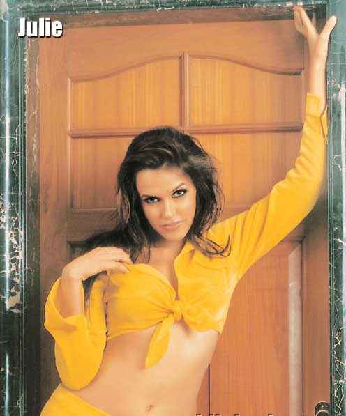 Julie (2004) Neha Dhupia In Yellow Mini Skirt Stills