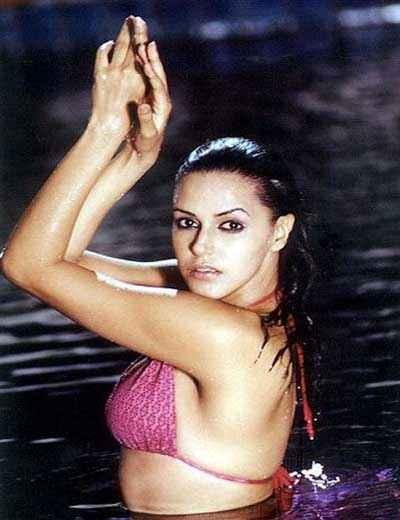 Julie (2004) Neha Dhupia Pink Bikini Pics Stills