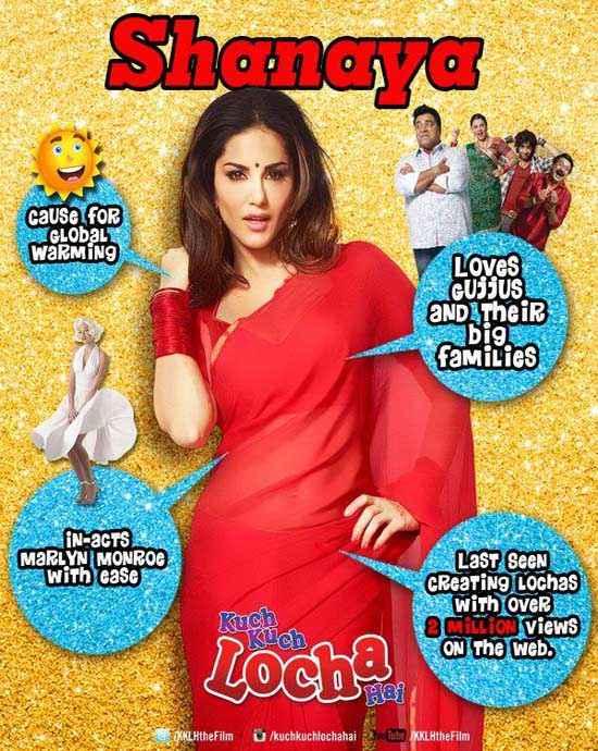 Kuch Kuch Locha Hai Sunny Leone In Red Saree Poster
