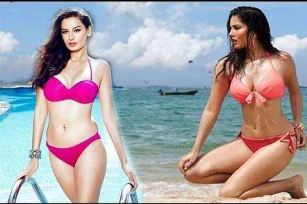 Kuch Kuch Locha Hai Evelyn Sharma Sunny Leone In Red Bikini Stills
