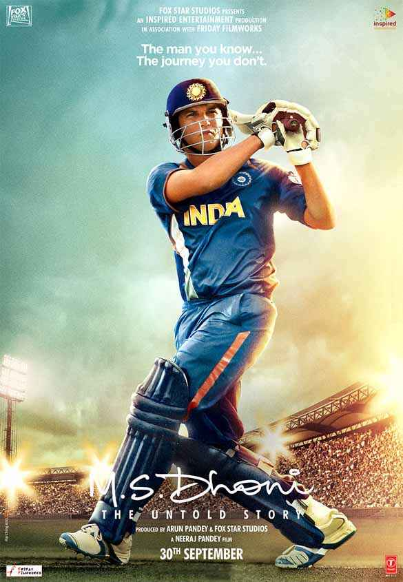 M.S. Dhoni - The Untold Biopic Sushant Singh Rajput Dhoni Cricket Shot Poster