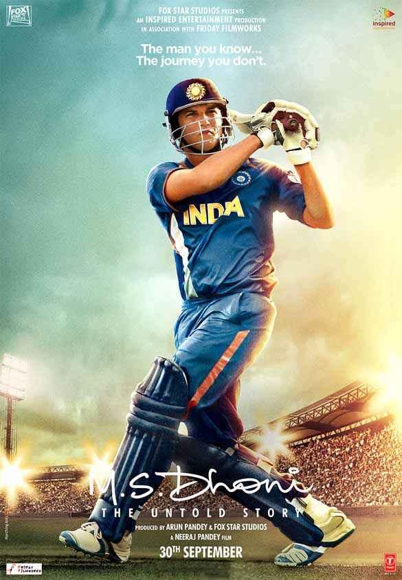 M.S. Dhoni - The Untold Biopic Sushant Singh Rajput Dhoni Cricket Shot Poster