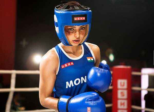 Mary Kom Priyanka Chopra In Blue Boxing Dress Stills