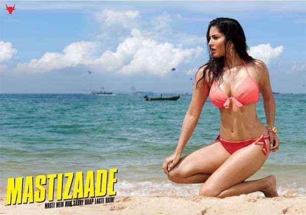 Mastizaade Sunny Leone Hot Red Bikini Poster