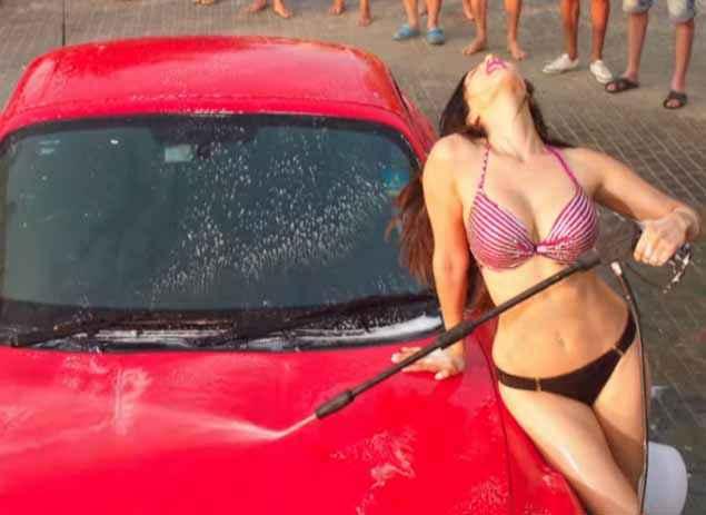 Mastizaade Sunny Leone In Hot Bikini Car Washing Stills