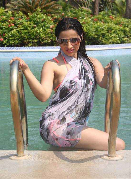 Midsummer Midnight Mumbai Sara Khan In Swiming Shoot Stills