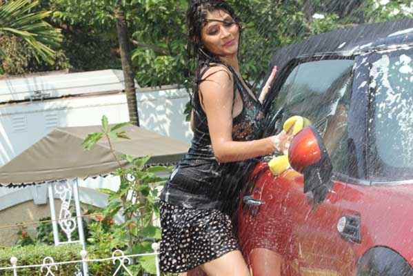 Monsoon Srishti Sharma Hot Car Washing Scene Stills