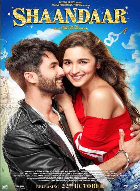 Shaandaar 2015 Shahid Kapoor Alia Bhatt Romance Poster