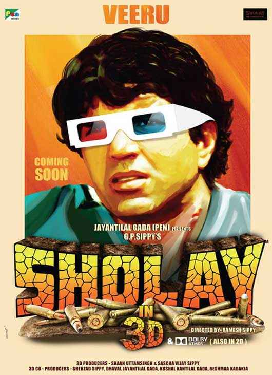 Sholay 3D Dharmendra Poster