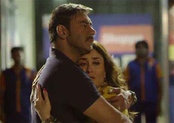 Singham Returns Ajay Devgn Hug Kareena Kapoor Stills