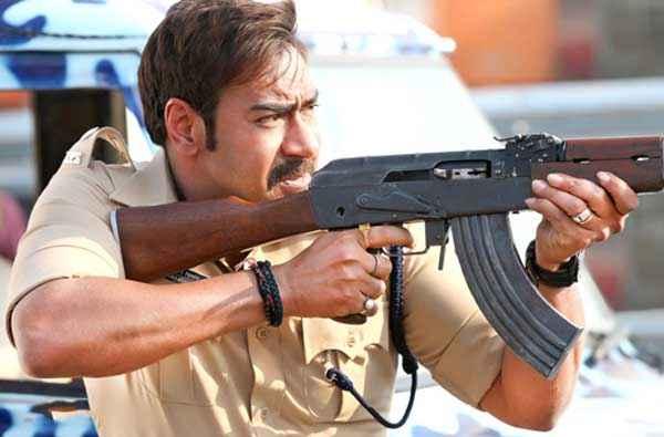 Singham Returns Ajay Devgn Shoot Gun Pics Stills