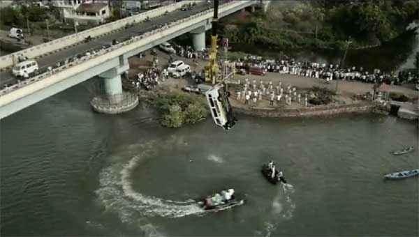 Singham Returns Car Flies Off Bridge Into The River Stunt Scene Stills