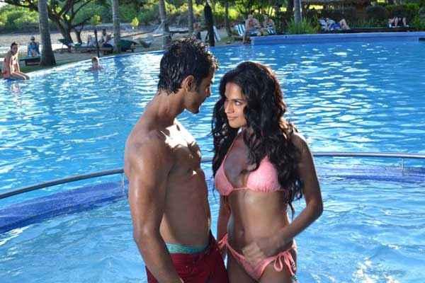 Super Model Veena Malik In Pink Bikini Stills