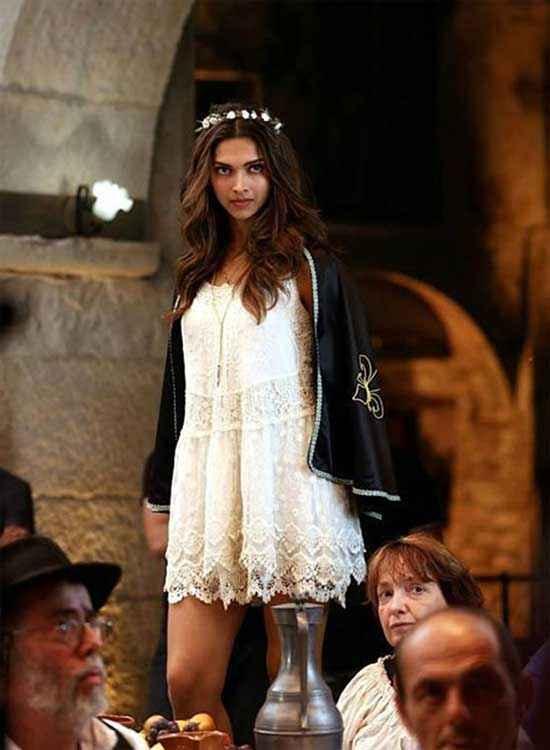 Tamasha 2015 Deepika Padukone White Short Gown Stills