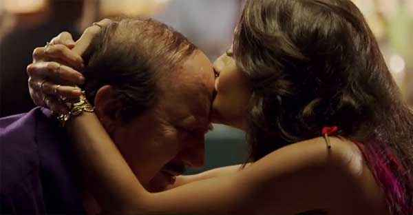 The Shaukeens Lisa Haydon Kissing Anupam Kher Stills