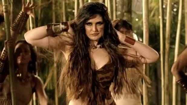 Veerappan Zarine Khan Boobs Cleavage Stills